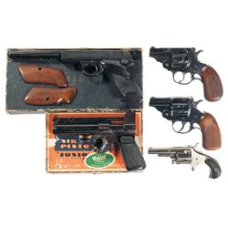 Three Revolvers One Air Pistol and One Semi-Automatic Pistol