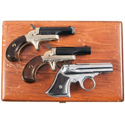 Remington Derringer and Cased Pair of Cased Colt Derringers