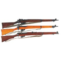 Three Enfield Bolt Action Rifles with Slings