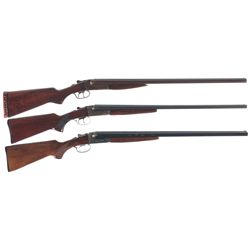 Three Hammerless Side by Side Shotguns