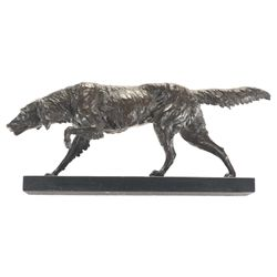 Debut Signed Dog on Point Bronze Statue