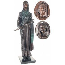 One Indian Themed Bronze Statue and Two Bronze Wall Plaques