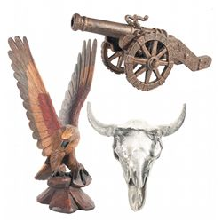 Aluminum Steer Skull, Carved Wooden Eagle and a Small Cannon