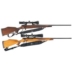 Two Scoped Weatherby Bolt Action Rifles