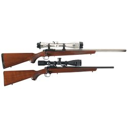 Two Scoped Ruger Model 22/77 Bolt Action Rifles