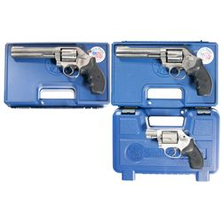 Three Cased Smith & Wesson Double Action Revolvers