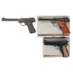 Three Browning Pistols with Cases