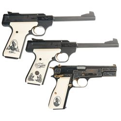 Three Browning Semi-Automatic Pistols with Cases