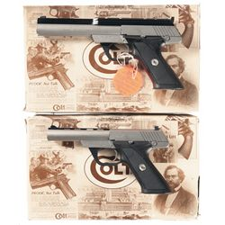 Two Boxed Colt .22 Semi-Automatic Pistols with Cases