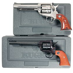 Two Ruger New Model Single Action Revolvers with Original Cases