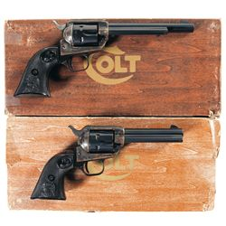Two Boxed Colt Peacemaker Single Action Revolvers with Different Barrel Lengths