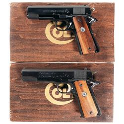 Two Colt Semi-Automatic Pistols with Original Boxes