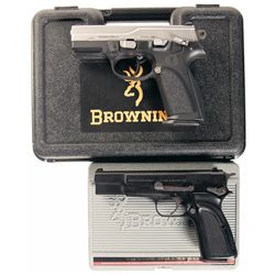 Two Cased Browning Semi-Automatic Pistols