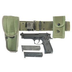 Beretta M9 Semi-Automatic Pistol with Web Belt, Holster, Magazine Pouch and 2 Extra Magazines