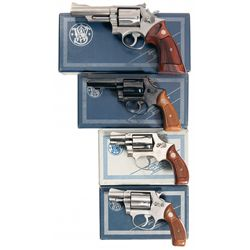 Collector's Lot of Four Smith & Wesson Double Action Revolvers with Original Boxes