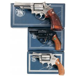Three Boxed Smith & Wesson Double Action Revolvers