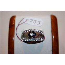 Lady's Very Fancy 14 kt White Gold Garnets &amp; White Diamond Ring