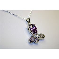 Lady's Fancy Sterling Amethyst & Diamond Necklace