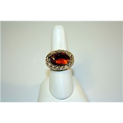 Unisex Fancy Yellow Sterling Rose Garnet &amp; White Sapphires Ring