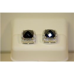 Lady's Fancy Design Sterling Silver Square Shape Black & White Diamond Earrings