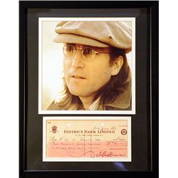 "Jhon Lennon the so-called ""smart Beatle""  Giclee with  Image of  real check"
