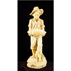 Boy with Basket  Alabaster Sculpture