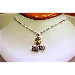 Lady's Fancy Sterling Golden Sapphire &amp; Diamond Necklace