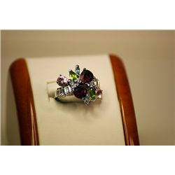 Lady's Fancy 14kt White Gold Multi Color (Ruby, White & Pink Sapphire & Peridot) Ring