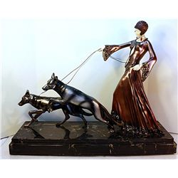 Diane and the Wolves - Bronze and Ivory Sculpture by Chiparus