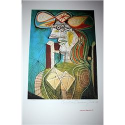Limited Edition Picasso - Seated Woman on Wood Chair - Collection Domaine Picasso