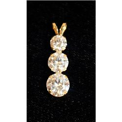 FANCY 14K GOLD WHITE SAPPHIRE DROP PENDANT