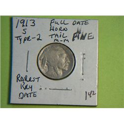 1913 S  BUFFALO NICKEL