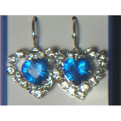 BLUE HEART WITH SIMULATED DIAMONDS