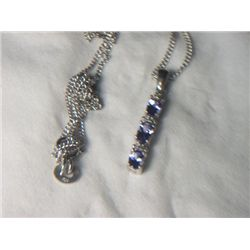 PLATNIUM  OVERLAY SILVER TANZANITE PENDANT