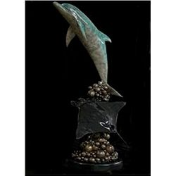 Bronze Sculpture - Buubble Dolphin and Ray by Unknown