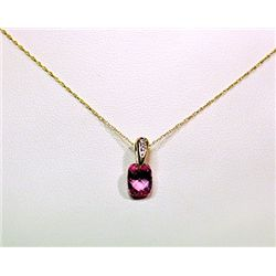 Lady's Fancy 14kt White Gold Pink Sapphire Necklace