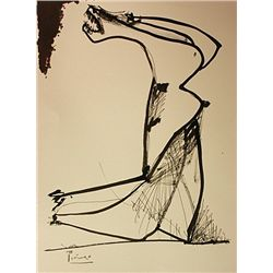 Original Hand Draw, Ink Drawing on paper  Signed  Picasso