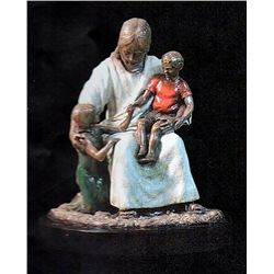 Bronze Sculpture - Jesus and the Children by D. Hunter