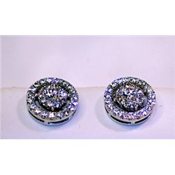 Lady's Antique Style Sterling Silver Round Shape White Sapphire Earrings