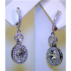 Lady's Antique Long Style Sterling White Topaz & Diamond Earrings