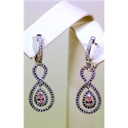 Lady's Antique Long Style Sterling Silver Pink Sapphire &amp; Diamond Earrings