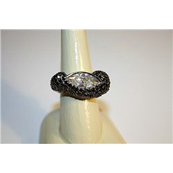 Unisex One Of A Kind Black Diamond & White Sapphire Ring