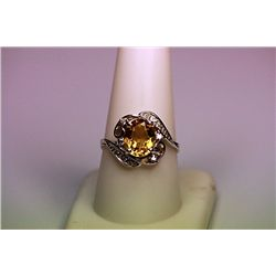 Lady's Fancy Diamond &amp; Golden Sapphire Ring