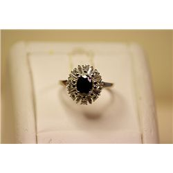 Fancy Lady's 14kt White Gold Sapphire & Diamond Ring
