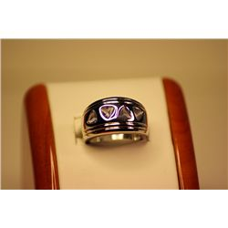 Unisex Fancy 14kt White Gold 2 Color Changing Alexandrite Ring