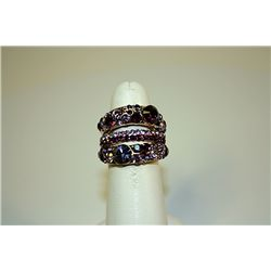 Lady's Very Fancy Design Sterling Amethyst Ring
