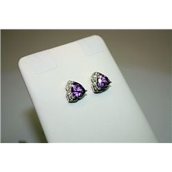 Fancy Style 14kt White Gold Amethyst &amp; Diamond Earrings