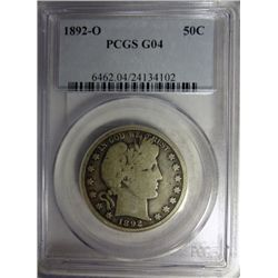 1892-O BARBER HALF DOLLAR PCGS GOOD4 RARE!