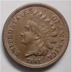 1861  Indian penny  solid AU