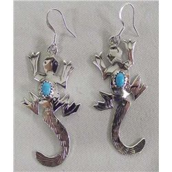 Navajo Sterling Turquoise Lizard Earrings - Yazzie